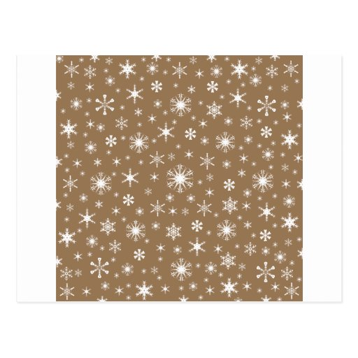 Snowflakes – White on Pale Brown Postcards