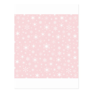 Snowflakes – White on Pale Pink Postcards