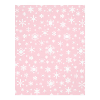 Snowflakes – White on Pink Personalized Letterhead