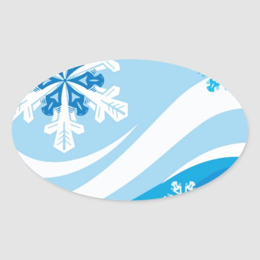 Snowflakes Winter Background Vector BLUES WHITE SW Oval Sticker