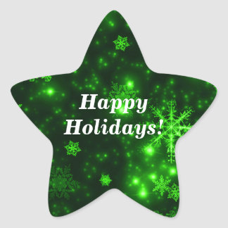Snowflakes with Green Background Star Stickers