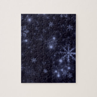 Snowflakes with Midnight Blue Background Puzzles