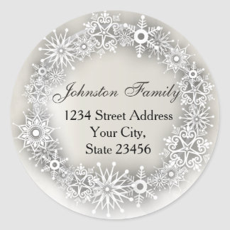 Snowflakes Wreath Personalized Christmas Stickers
