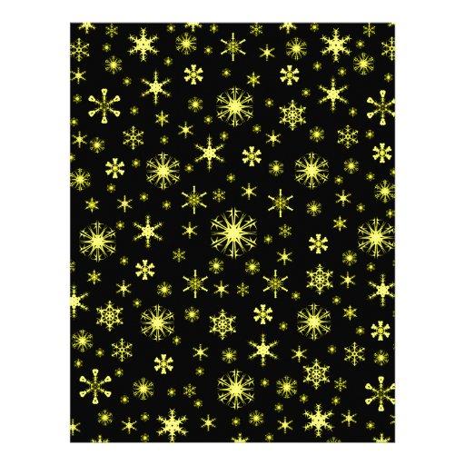 Snowflakes – Yellow on Black Letterhead Template