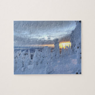 Snowghosts at sunset at Whitefish Mountain Jigsaw Puzzle