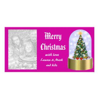 snowglobe christmas photo card