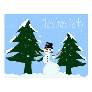 Snowing Christmas Party Invitation Postcard