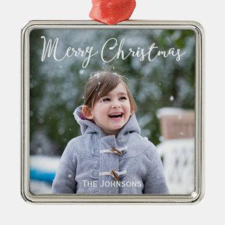 Snowing Photo Christmas Premium Square Ornament