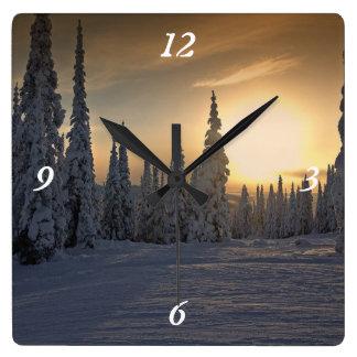 Snowing Winter Morning Clock