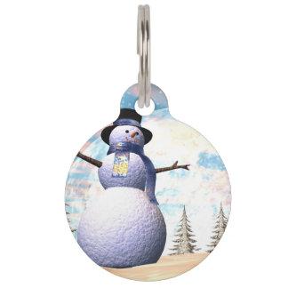 Snowman - 3D render Pet ID Tag