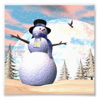 Snowman - 3D render Photo Print