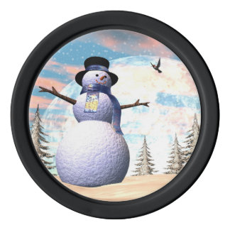 Snowman - 3D render Poker Chips