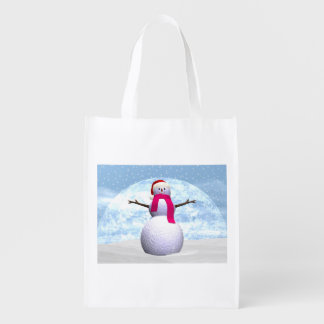 Snowman - 3D render Reusable Grocery Bag