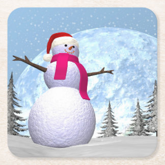 Snowman - 3D render Square Paper Coaster