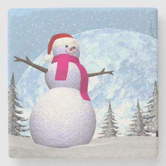 Snowman - 3D render Stone Beverage Coaster