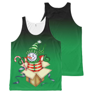 SNOWMAN ALONE All-Over Printed Unisex Tank