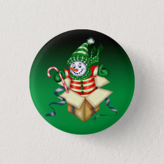 SNOWMAN ALONE CHRISTMAS  SMALL BUTTON 1¼ Inch