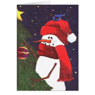 Snowman and Blue Jay Card