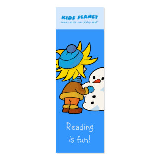 Snowman and boy bookmark mini business card