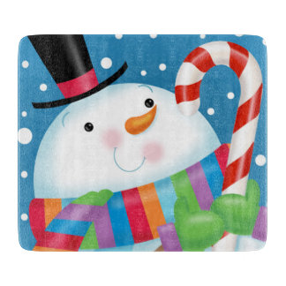Snowman and Candy Cane Cutting Board