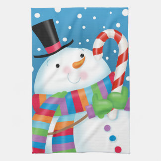 Snowman and Candy Cane Kitchen Towel