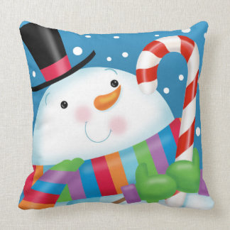 Snowman and Candy Cane Pillow