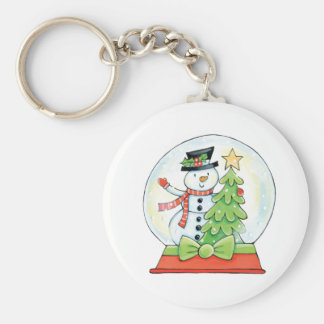 Snowman and Christmas Tree in a Snow Globe Basic Round Button Keychain