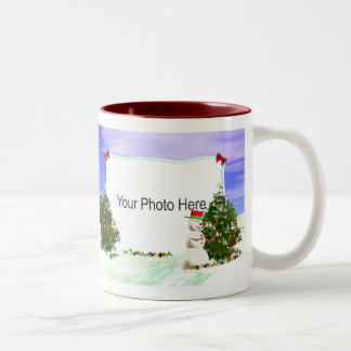 Snowman and Christmas Trees 2-Photo Frame Two-Tone Coffee Mug