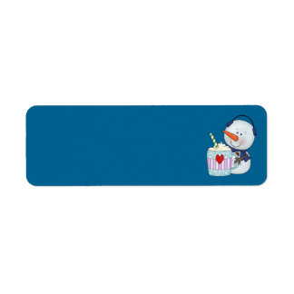 SNOWMAN AND COCOA MUG ADDRESS LABELS