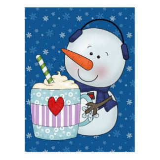 SNOWMAN AND COCOA MUG POSTCARD