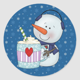SNOWMAN AND COCOA MUG STICKERS