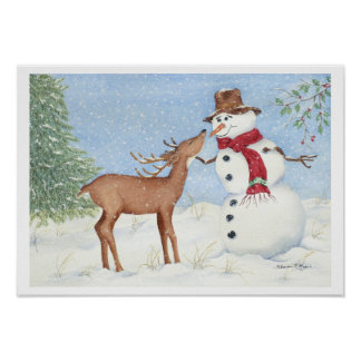 Snowman and Deer Friend - Christmas Print