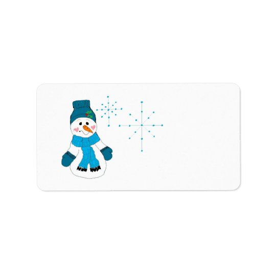 Snowman and Flakes Label