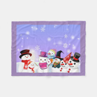 Snowman and Friends Fleece Blanket