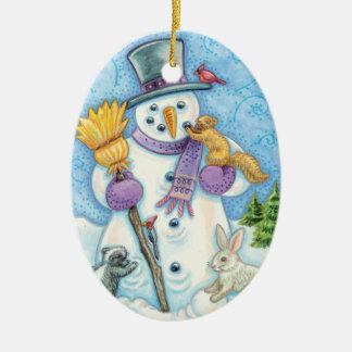 Snowman and Friends Retro Christmas Ceramic Ornament