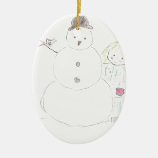 Snowman and Girl Ceramic Ornament