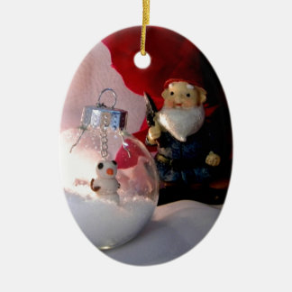 Snowman and Gnome Ceramic Oval Ornament
