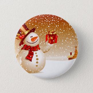 Snowman and Golden Stars 2 Inch Round Button