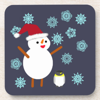 Snowman and Penguin Drink Coasters