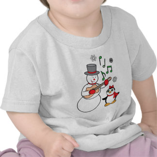 Snowman and Penguin with Guitar at the Holidays T Shirts