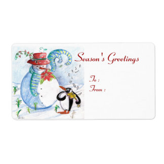 SNOWMAN AND PENGUIN'S WINTER SERENADE SHIPPING LABEL