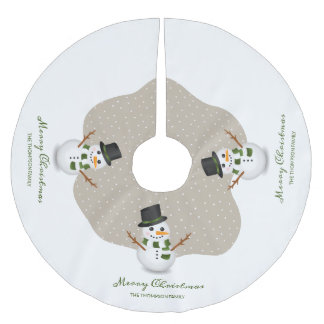 Snowman And Personalizable Family Name Christmas Brushed Polyester Tree Skirt