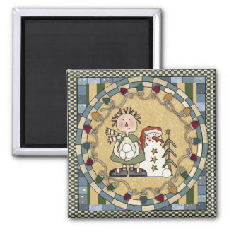 Snowman and Raggedy Doll Christmas Magnet