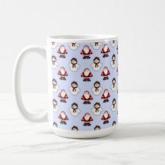 Snowman and Santa Pattern Coffee Mug