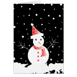 Snowman and snowflakes - Card