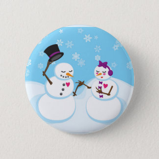 Snowman and Snowgirl Romance 2 Inch Round Button