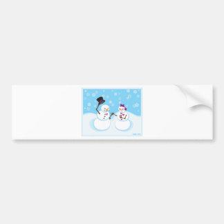 Snowman and Snowgirl Romance Bumper Sticker