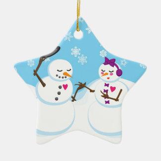 Snowman and Snowgirl Romance Ceramic Ornament