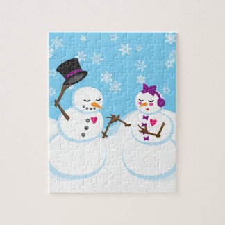 Snowman and Snowgirl Romance Jigsaw Puzzle