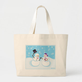 Snowman and Snowgirl Romance Large Tote Bag